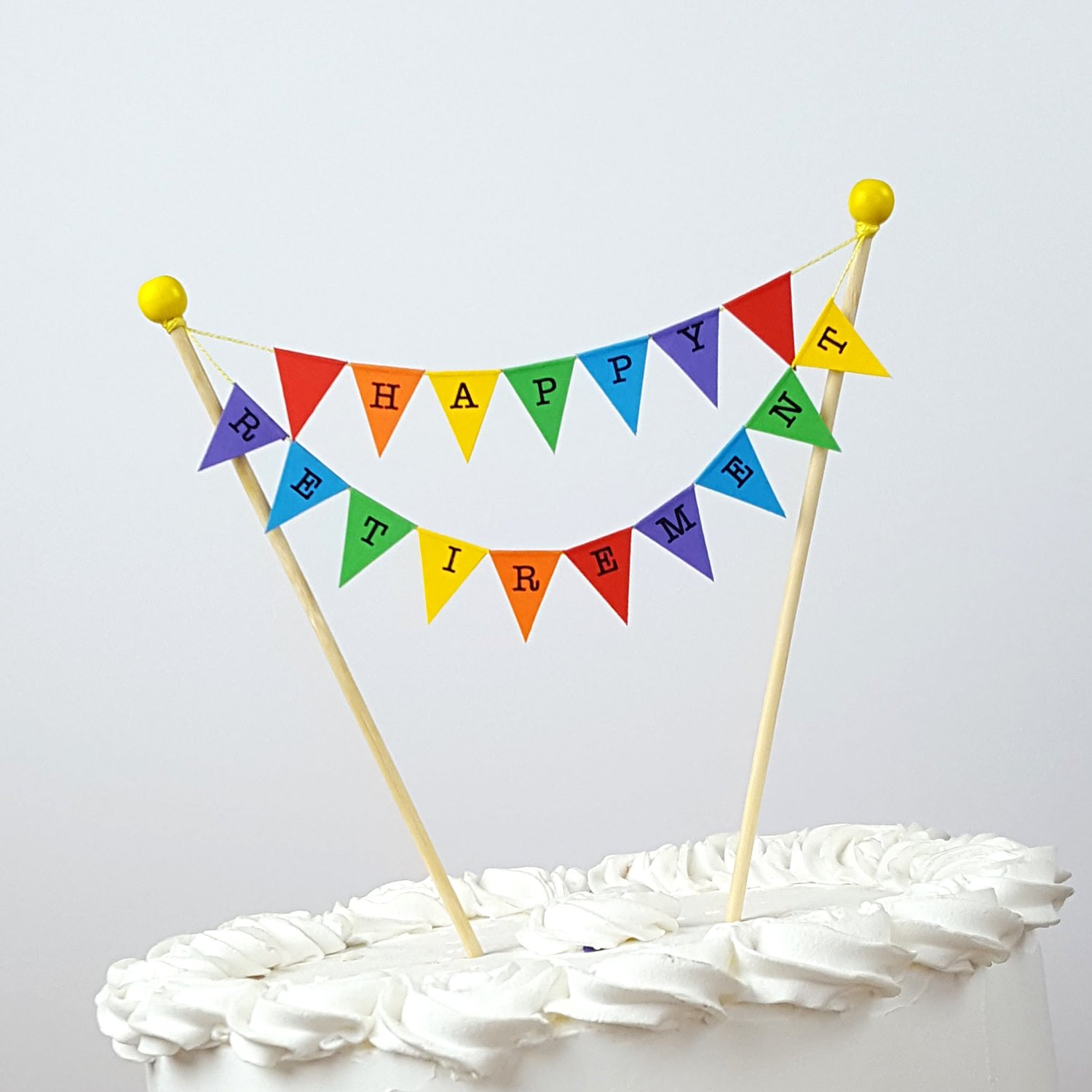 amazing buntings Happy Retirement, Cake Topper, Mini Bunting, Fully Assembled, 192