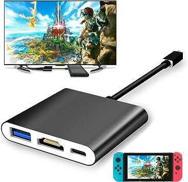 FYOUNG Adaptador USB Tipo C a HDMI para Nintendo Switch, 1080P USB C Hub HDMI Convertidor Cable para Nintendo Switch (Negro): Amazon.es: Electrónica