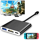 FYOUNG USB Type-C to HDMI Adapter for Nintendo Switch,1080P USB C Hub HDMI Converter Cable for Nintendo Switch(Black)