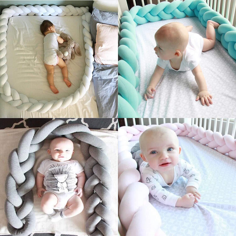 Fashion/·LIFE Baby Crib Bumpers Cot Bumper Braid Pillow Cushion Nursery Decorations Braided Bumper for Crib Nursery,2M Blue/&White/&Grey