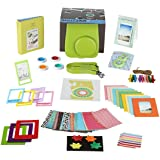 Fujifilm Instax Mini 9 Camera Accessories Bundle, 14 PC Kit Includes: LIME Instax Mini Case + Strap, 2 Albums, Color Filters, Selfie lens, Magnets + Hanging + Creative Frames, 60 stickers, Gift Box