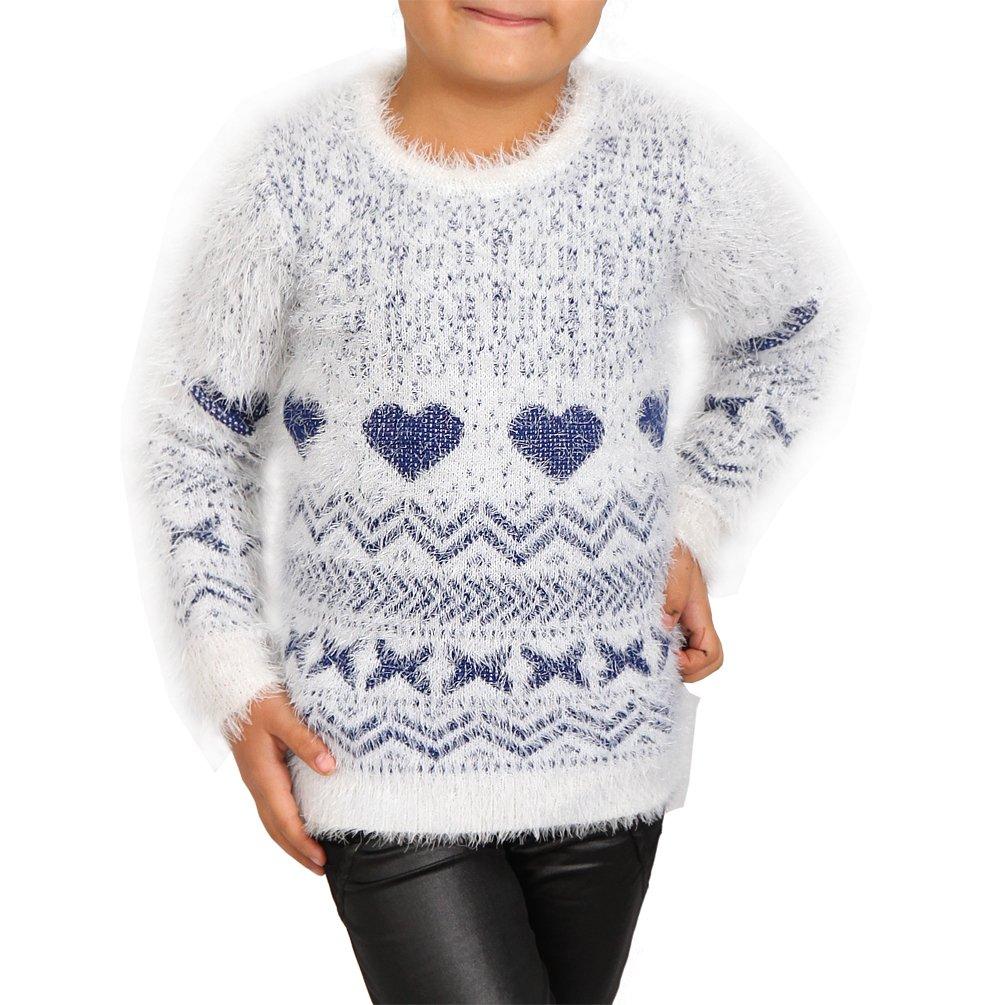 Kinder Kuschel Strick Pulli Herz Baby Mädchen Winter Sweat Shirt Zick Zack