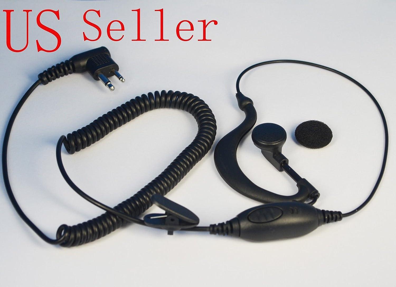 FYL Security G-Shape Headset//Earpiece Mic For Motorola Radio Walkie Talkie 2 Pin
