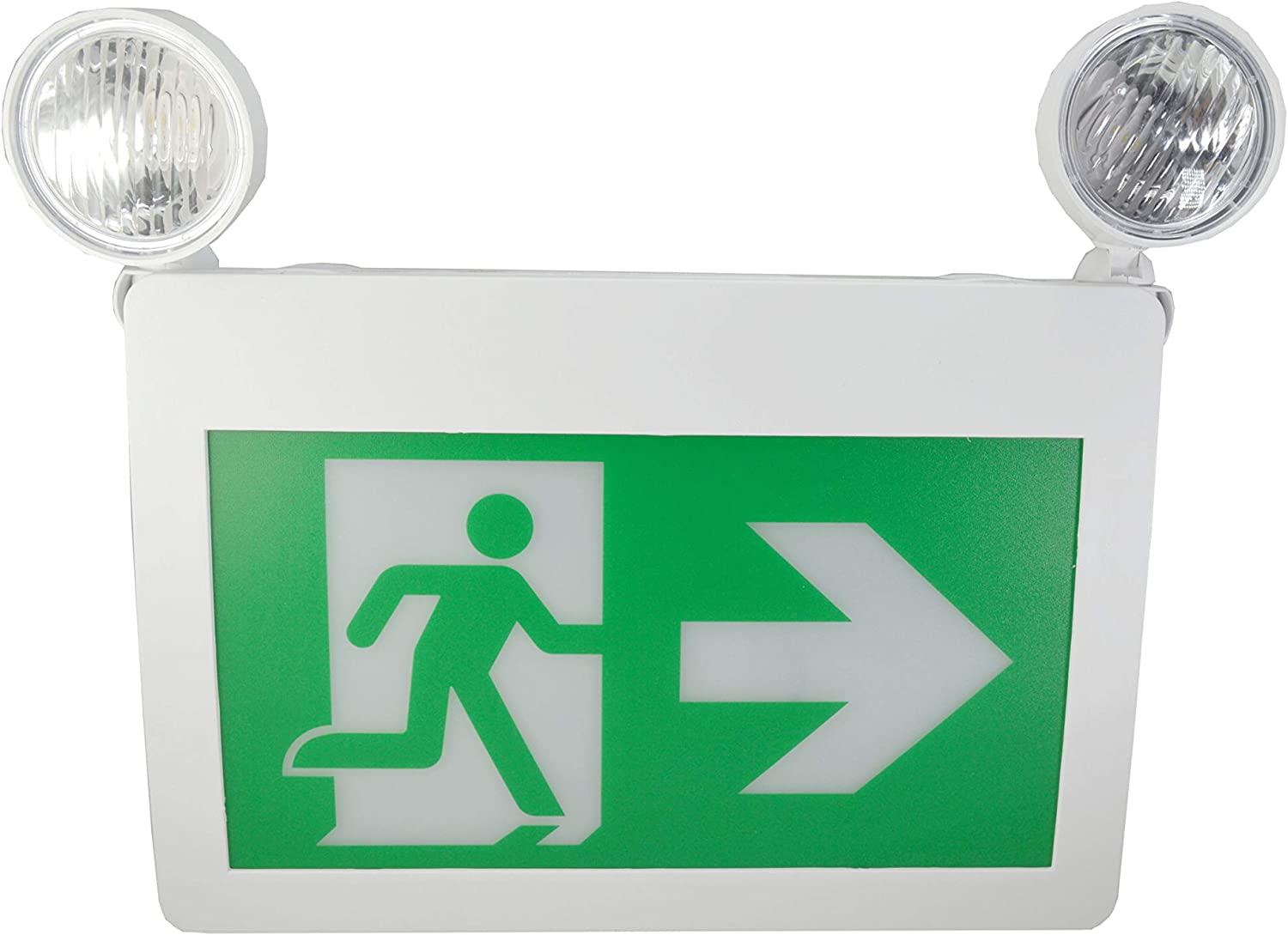Mw Led Exit Sign Cm 316 Running Man Thermoplastic Sign Combo Emergency Light Led With 2 Heads Led 2w X 2 Left Right Battery Backup For 120 Minutes 120v 347v Universal Mounting Csa Listed Cm 316