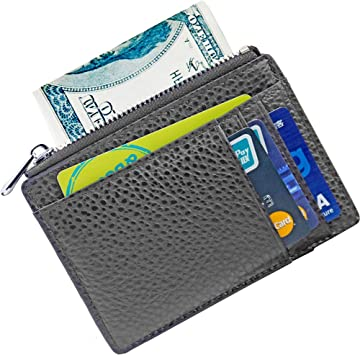 Cowhide leather ID holder-credit card case slim small womens-mens wallet black