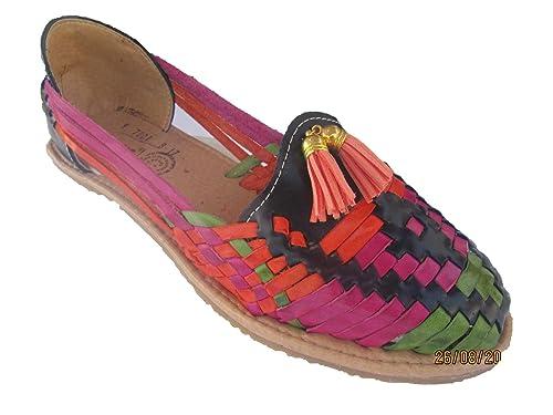 detailed look cf020 da526 Leather Sandal Shoes (Huaraches) Women's Maxx Handmade (Navy  Blue/Multi/Green)
