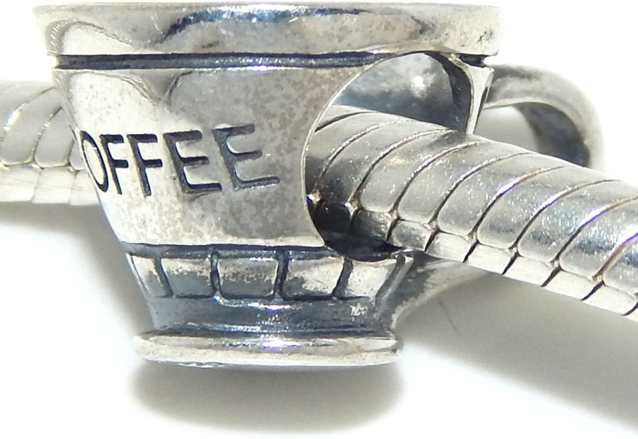 925 Sterling Silver Coffee Cup Charm Bead