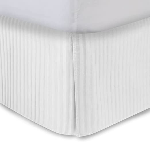 Amazon.com: White Bed Skirt Queen Bed Skirt 18 Inch Drop, Tailored