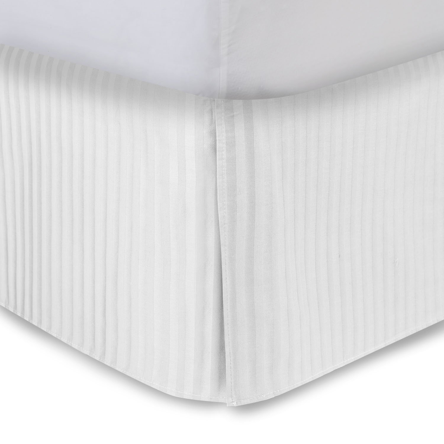 Harmony Lane Tailored Bedskirt with 21'' Drop, King Size, White Sateen Stripe Bed Skirt with Split Corners (Available in All Sizes and 10 Colors)