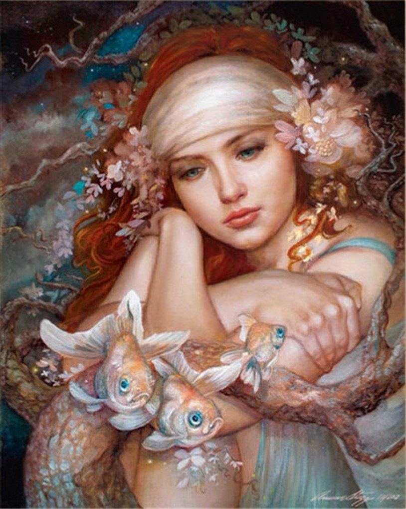 DIYダイヤモンド刺繍モザイクラインストーンPicture GirlダイヤモンドPainting Fishホームインテリア 40cm*50cm XU1269_40cm×50cm 40cm*50cm  B077SVB8QK