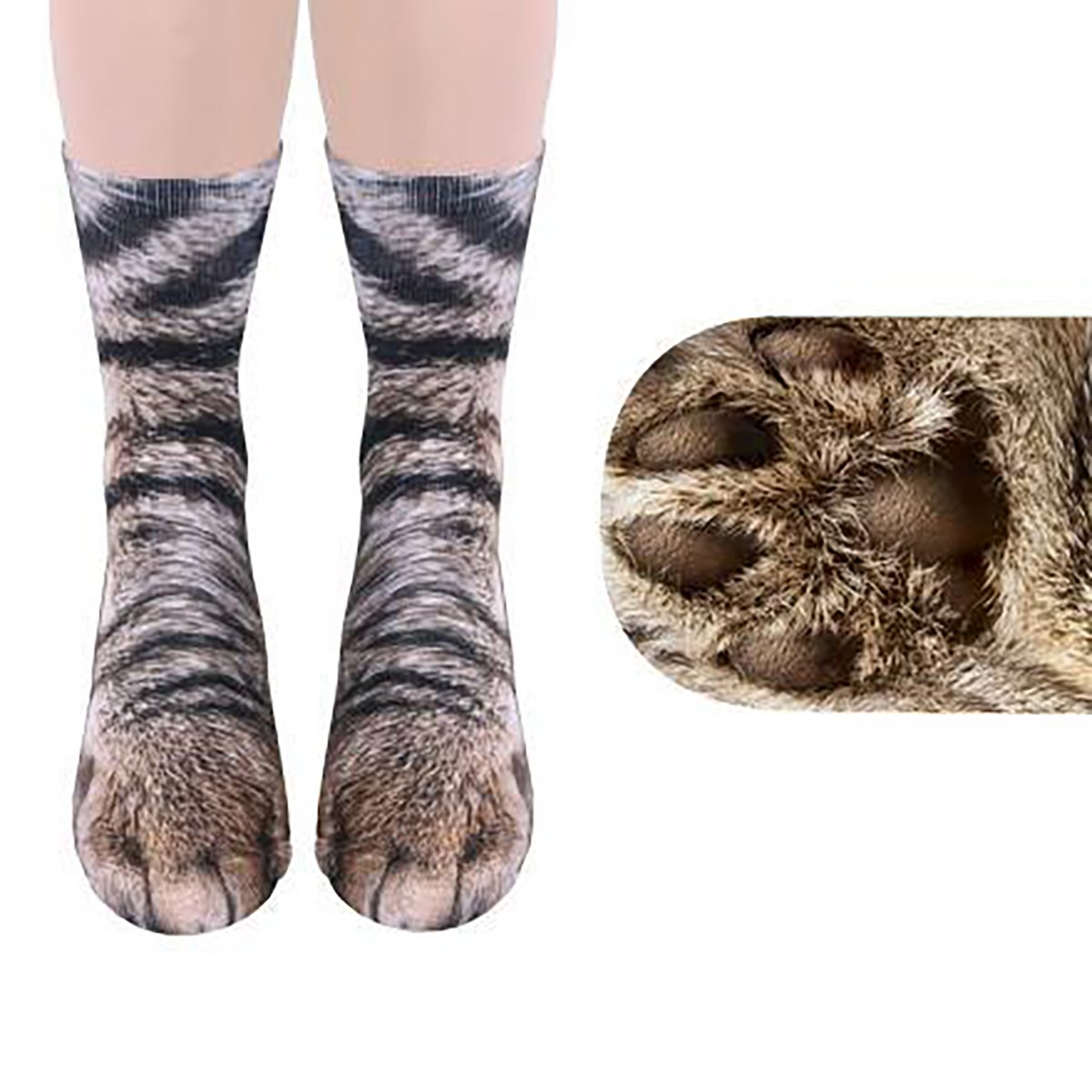 YF Unisex Adult Animal Foot Print Simulation Tube Stockings 3D Paw Pattern Crew Socks Yin Feng 0AF0SA1S3J