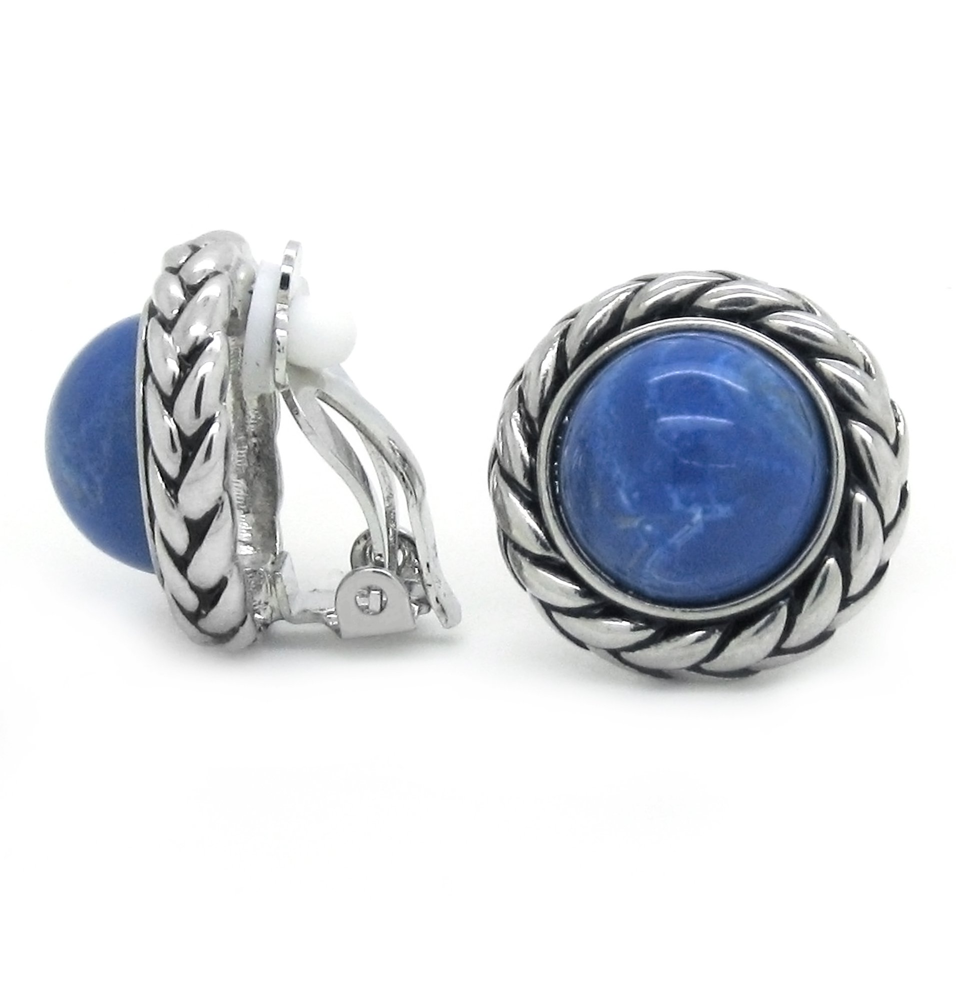 Blue Clip on Earrings Braided Rope Round Antique Women Fashion by Sparkly Bride