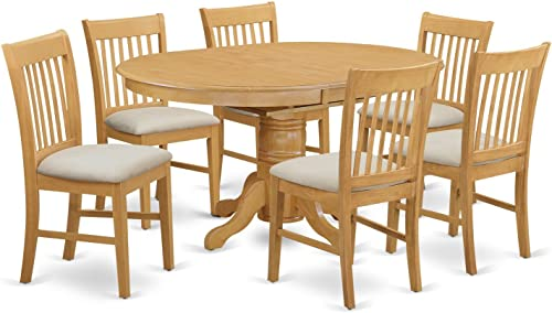 AVNO7-OAK-C 7 Pc Table and chair set – Dinette Table and 6 Dining Chairs