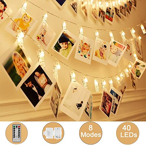 Weepong 40 LED Photo Clips String Lights Holder, Picture Hanging Lights with Remote and Timer 16.4 ft Battery Powered Fairy String Lights for Teen Girls Gift Dorm Bedroom Wall Wedding Decor 8 Modes