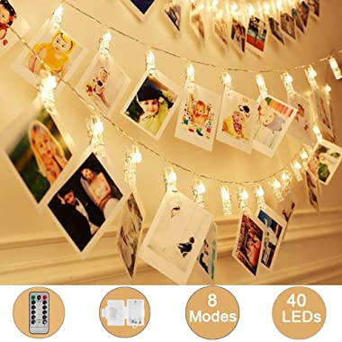 Weepong 40 LED Photo Clips String Lights/Holder, Picture Hanging Lights with Remote and Timer 16.4ft Battery Powered Fairy String Lights for Teen Girls Gift Dorm Bedroom Wall Wedding Decor (8 Modes)