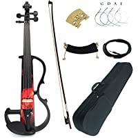 Aliyes Premium Silent Electric Violin 4/4 Full Size Violinist/Professional Student Violin For Beginner Solid Wood Violin…