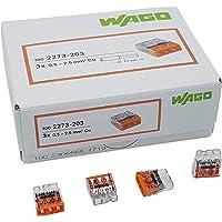 100 stycken Wago 2273-203 kompakt kopplingsdosa terminal Ø 0,5-2,5 mm², 3-stifts, genomskinlig/orange