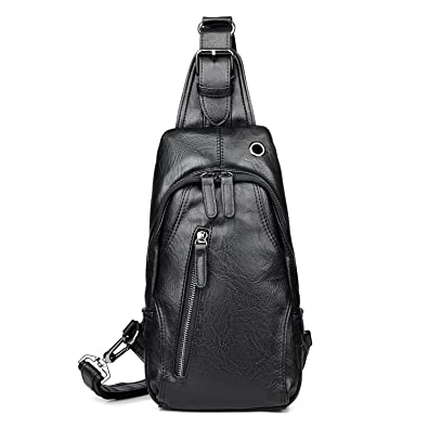 81a2959bf111 Amazon.com: Mens Leather Sling Pack Backpack Front Chest Bag ...