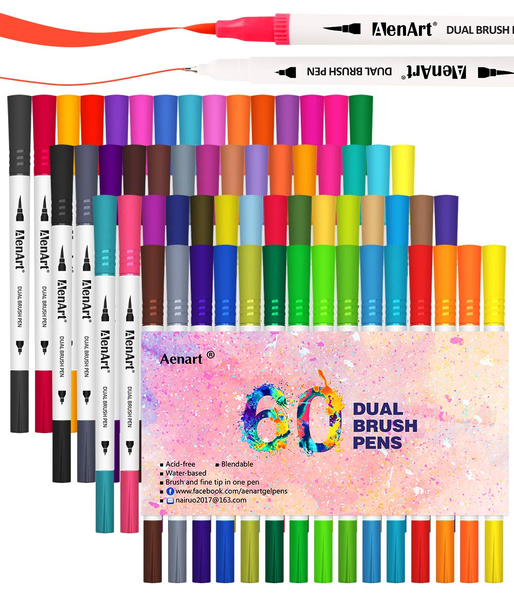 60 Colors Dual Tip Brush Pens Calligraphy Art Marker, Brush and Fine Point Pen for Beginner Journaling Drawing Coloring Book(Art Supplier) by Aen Art