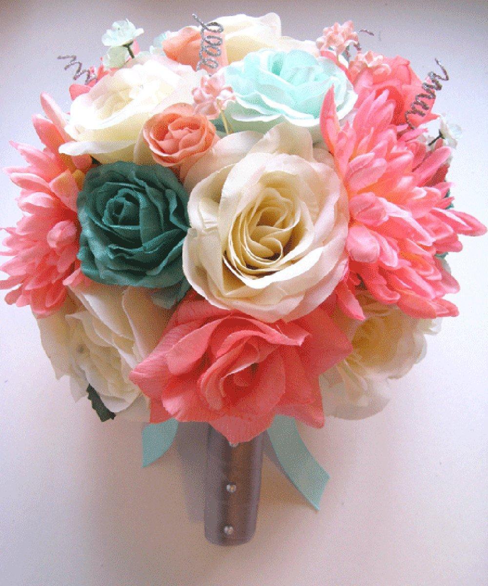 Amazon.com: 17 Pc Wedding Bouquet Bridal Silk Flower Coral Teal ...
