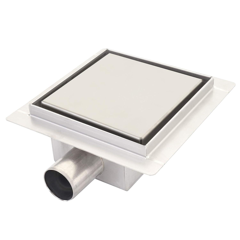 Mendler Canaletta di Scarico per docce piastrellate HWC-D95a Acciaio Inox 12x12cm