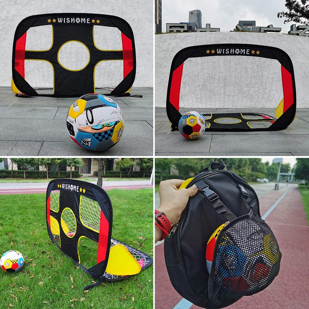 WISHOME 4FT 2 in 1 Pop up Soccer Goal Portable Kids Socccer Ball and Goal Set Shooting Practice Foldable Soccer Net for Backyard Indoor/Outdoor Sport Toys Goal with Ball&Pump : Sports & Outdoors