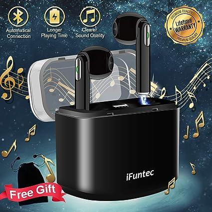 iFuntec Écouteurs sans Fil, Casque Bluetooth avec Mic Mini Intra Auriculaires Oreillettes avec Étui de Charge Réglable Écouteurs Audio Stéréo