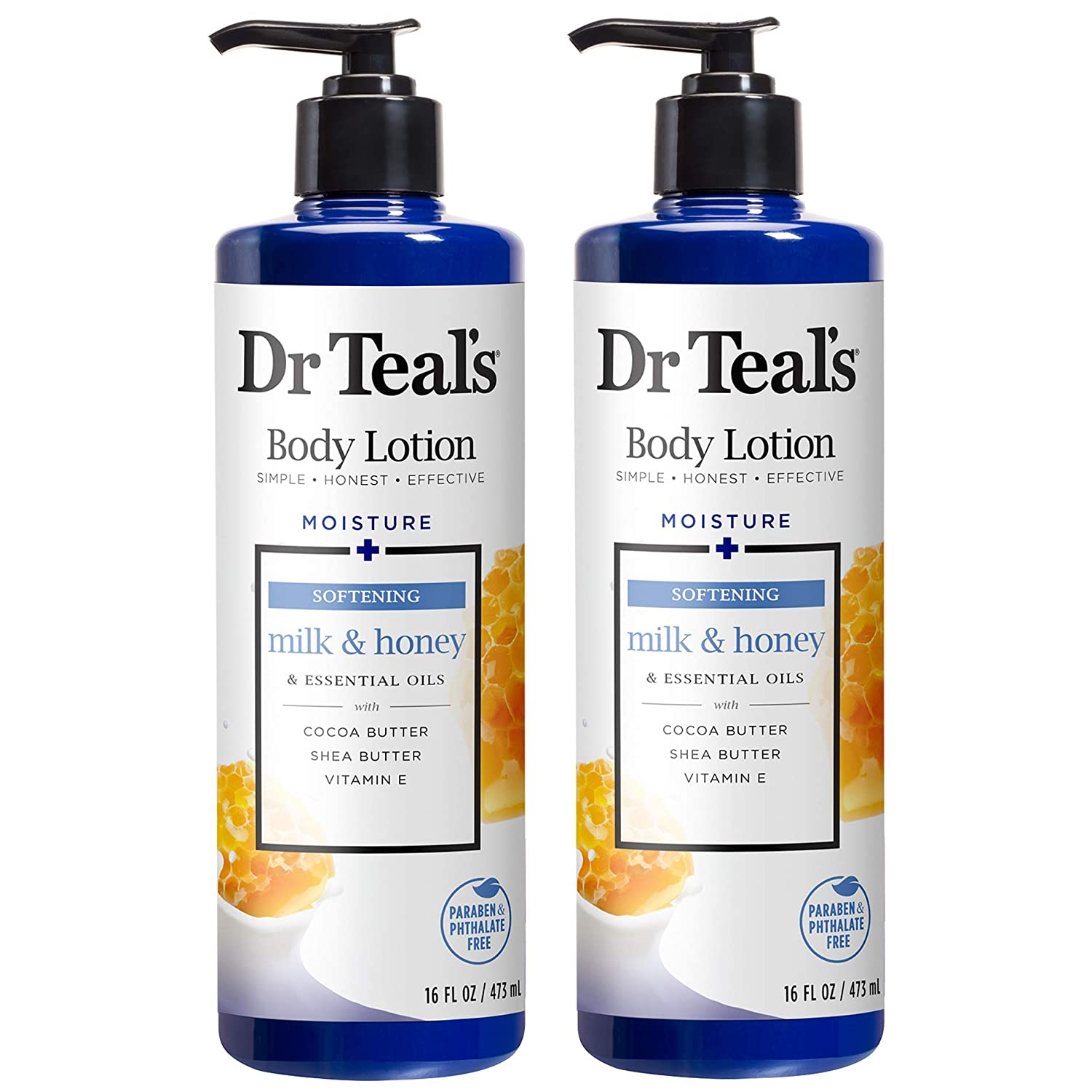 Dr Teal's Body Lotion - Softening Milk & Honey - 16 oz Pack of 2