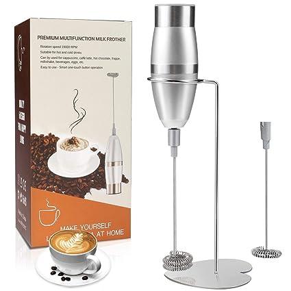 Espumador de leche, WisFox batidora de mano eléctrica operada a batería, doble Batidor de leche de Acero Inoxidable Cabeza Y Soporte de para café, ...