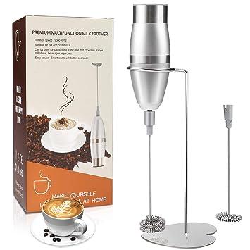Espumador de leche, WisFox batidora de mano eléctrica operada a batería, doble Batidor de