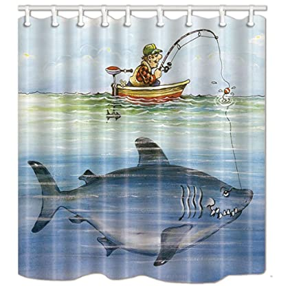NYMB Whale Decor Man Fishing In The Boat Shower Curtain Mildew Resistant Polyester Fabric