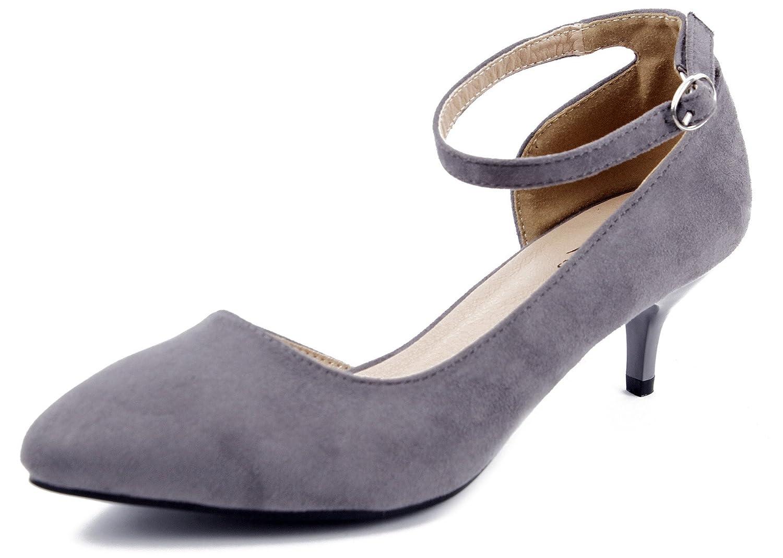 AgeeMi Shoes Mujer Tacón Medio Sólido Puntera EN Punta de Salón con hebillas