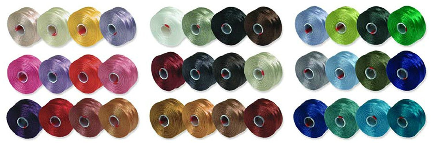 S-Lon Beading Thread Mixture Colors Size D - Neutrals Mix, Flower Colors and Blues and Greens Mix - 36 Colors Total by Beadsmith
