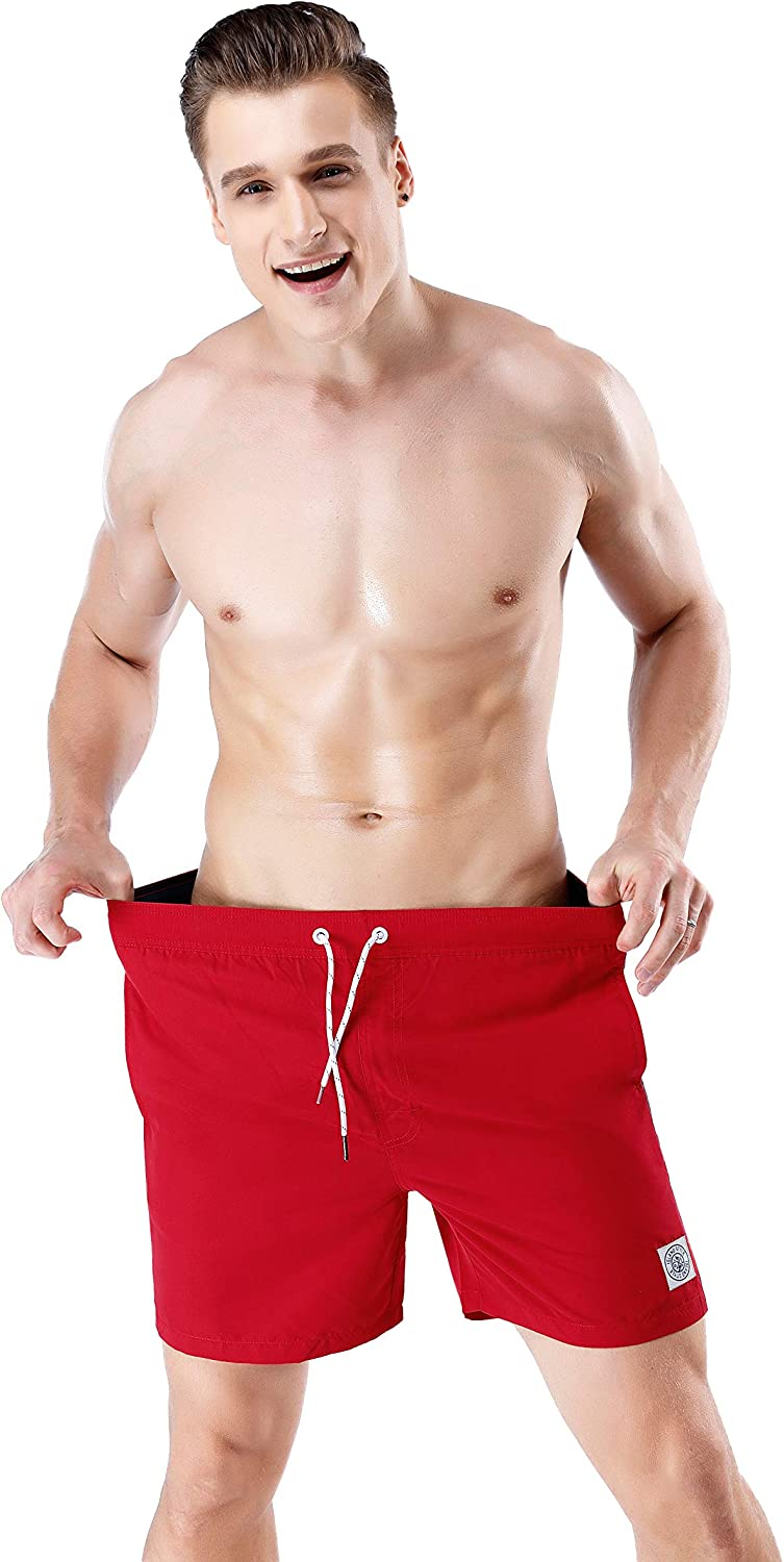 QRANSS Men's Solid Swim Trunks Quick Dry Casual Beach Swim Shorts for Home & Outdoor Red With Striped(polyester Fabric)