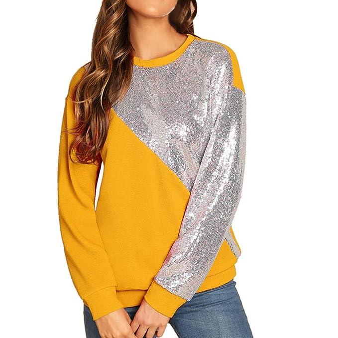 Wraluhen Damen Langärmliges Sweatshirt Mode Frauen blings Pailletten Farbblock Oansatz Patchwork Pullover Herbst Winter Langa