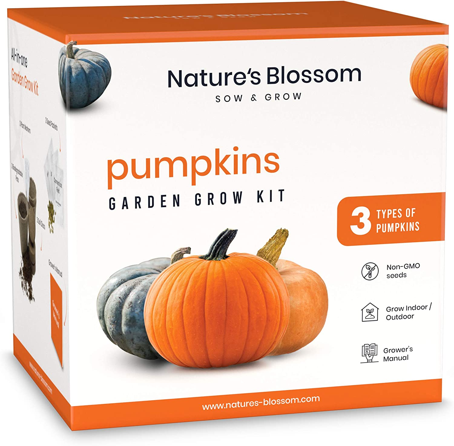 Nature's Blossom Pumpkins Garden Growing Kit - Seed Starting Gardening Set with Everything a Beginner Gardener Needs to Grow 3 Types of Pumpkins from Seeds.