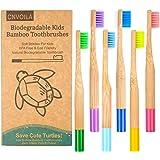 Juego de cepillos de dientes de bambú para niños, color multicolor
