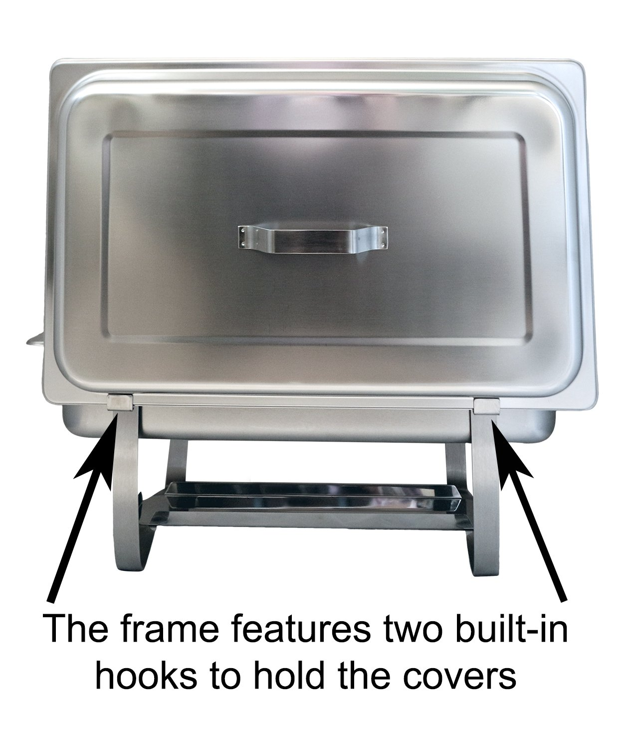 Tiger Chef 8 Quart Full Size Stainless Steel Chafer with Folding Frame and 2 Half Size Chafing Dishes Food Pans and Cool-Touch Plastic Handle on Top by Tiger Chef (Image #3)