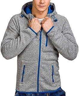 Pervobs Men's Autumn Winter Long Sleeve Hoodies Pleats Pockets Sweatshirt Tracksuits