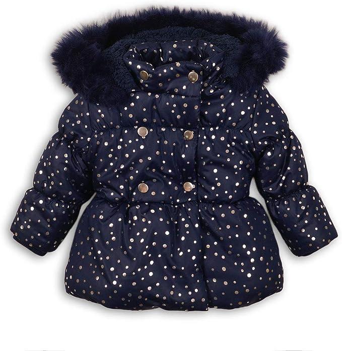 Baby Toddler Girls Foil Print Navy Puffa Coat Jacket faux fur trim