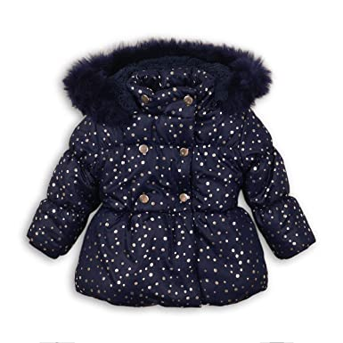 ef20d5573 Minoti Baby Toddler Girls Foil Print Navy Puffa Coat Jacket Faux Fur ...