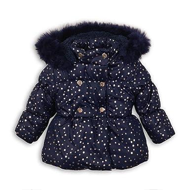 c71d8231 Minoti Baby Toddler Girls Foil Print Navy Puffa Coat Jacket Faux Fur Trim:  Amazon.co.uk: Clothing