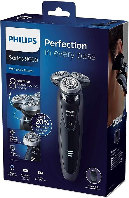 Philips SHAVER Series 9000 S9031/21 - Afeitadora (Máquina de afeitar de rotación, SH90, Negro, Batería, Ión de litio ...