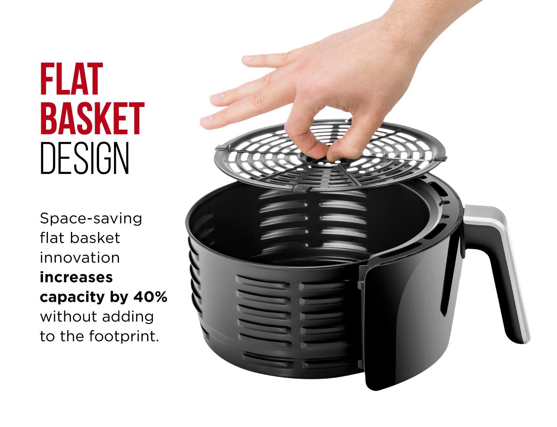 Chefman Digital 6.5 Liter/6.8 Quart Air Fryer Oven with Space Saving Flat Basket, Oil-Free Airfryer W/ 60 Min Timer & Auto Shut Off, Dishwasher Safe Parts, BPA Free, Family Size, X-Large, Black by Chefman (Image #3)