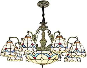 Mediterranean Chandelier Tiffany Style Retro Stained Glass Pendant Lamp Pastoral Floral Hanging Lighting Fixture for Living Room Bedroom Dining Room Stairs Decoration, 110-240V, E27,8 Head