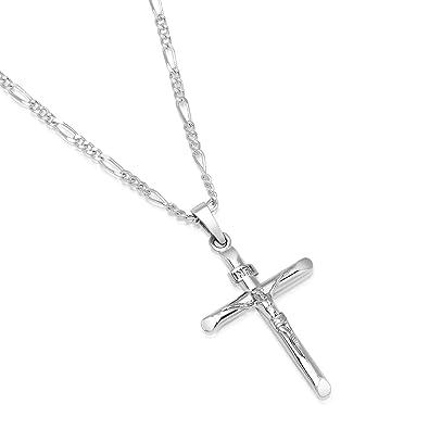 36aa75b310d2 Colgante con crucifijo de plata esterlina para hombre y collar de cadena de  fígaro italiano  Amazon.es  Joyería