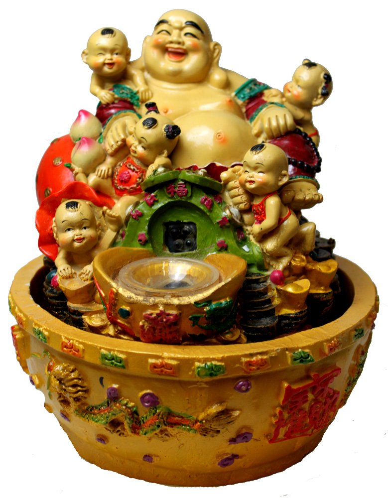 Fertility buddha tabletop water fountain with kids