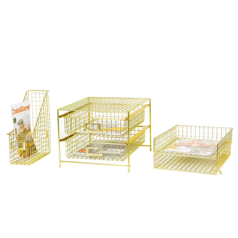 DESIGNA Grid Wire Drawer Organizer,Gold