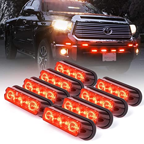 8 Pack Xprite Blue 4 LED 4 Watt Emergency Vehicle Waterproof Surface Mount Deck Dash Grille Strobe Light Warning Police Light Head with Clear Lens
