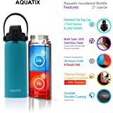 New Aquatix (Turquoise, 21 Ounce) Pure Stainless Steel Double Wall Vacuum Insulated Sports Water Bottle Convenient Flip Top Cap with Removable Strap Handle - Keeps Drinks Cold 24 hr/Hot 6 hr